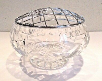 Bohemia  Heavy Cut Glass Lead Crystal Rose Bowl Perfect Condition ***