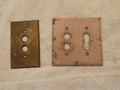 Vintage 1940's Push Button Double & Single Gang Switch Plate - Solid Brass