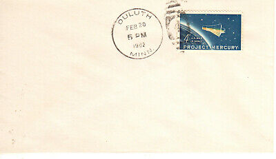 1193 February 20 1962 4c Project Mercury FDC First Day Duluth Minnesota