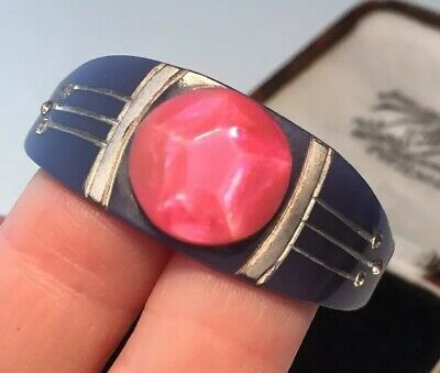 Vintage Art Deco jewellery unusual geometric Bakelite scarf ring