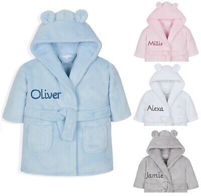 Personalised Embroidered Baby Robe Dressing Gown Towel Hat Toddler Gift Boy Girl