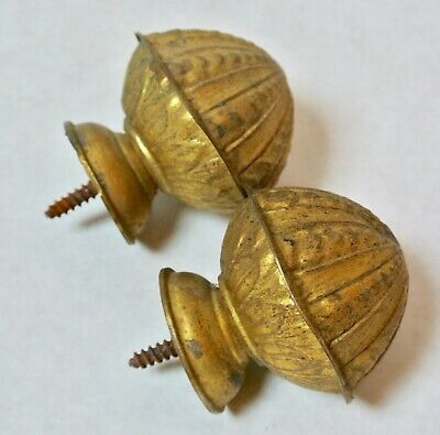 2 Vintage French Tole Brass Curtain Rod Ends Finials Hollow