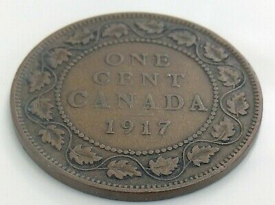 1917 Canada One 1 Cent Copper Large Penny Canadian George V Circulated Coin J857