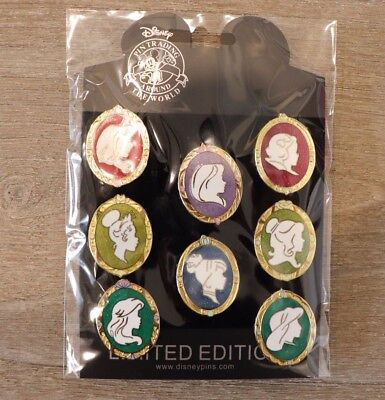 Disney Pin Compete Set Princess Cameo Silhouette Belle Rapunzel Ariel Snow White