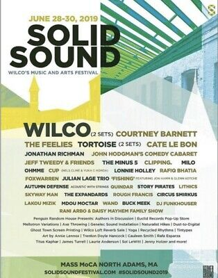 2 Tickets Wilco Solid Sound Festival 2019 3-Day Passes 6/28-6/30 Gnrl Admission