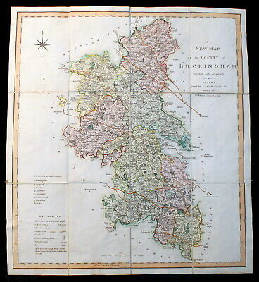 Genuine Georgian Antique Map of Buckinghamshire by C Smith, 1804 with slip case