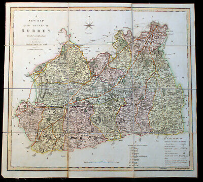 Genuine Georgian Antique Map of Surrey by C Smith, 1804 with slip case
