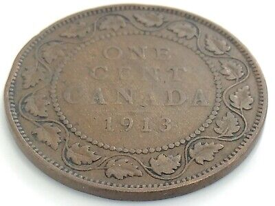 1913 Canada One 1 Cent Copper Large Penny Canadian George V Circulated Coin J865