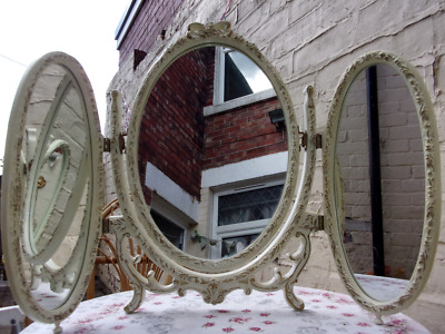 Vintage Triple Dressing Table Mirror ~50+ Yr Old French Louis Baroque Style VGC