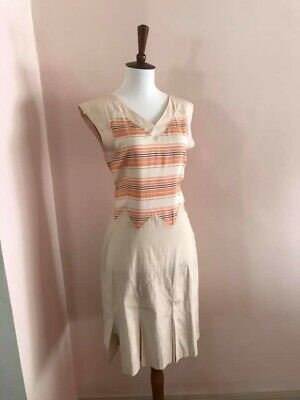 1930s Art Deco Silk and Cotton Tennis Day Dress Small