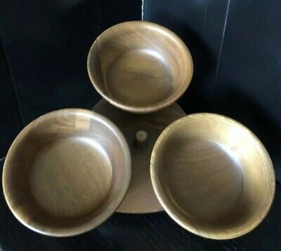 Vintage Mid Century Wooden Three Condiment Dish Lazy Susan Serving Snack Tray