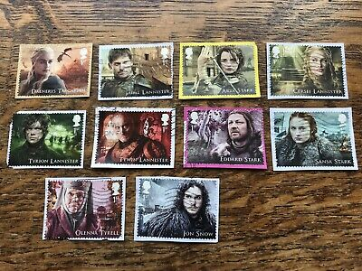 Gb Stamps 2018 GAME OF THRONES ,set Of 10 Used On Paper