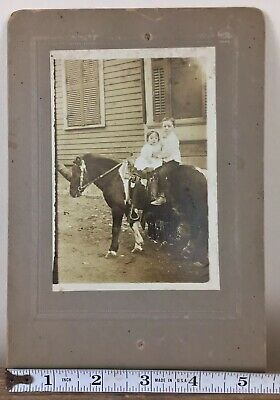 Antique Cabinet Card Photo Brother And Sister On Pony Horse 19thC