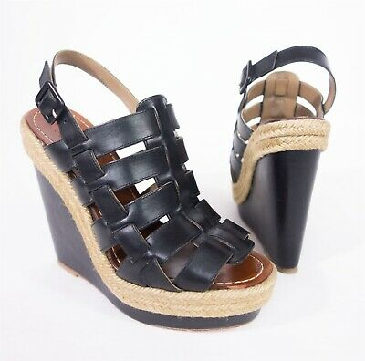 685295a3a1 CHRISTIAN LOUBOUTIN Barcelona Wedge Sandals 37 7 Black Cage Jute Platform