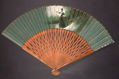 Vintage Art Deco Fan Wooden Mother Of Pearl Hand Painted Lady Figure Landscape