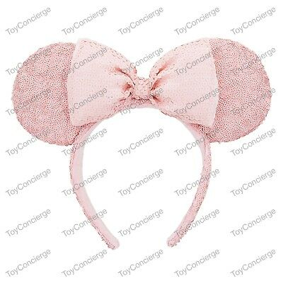 DISNEY Parks EAR HEADBAND Adult MILLENNIAL PINK Sequin MINNIE Mouse NWT