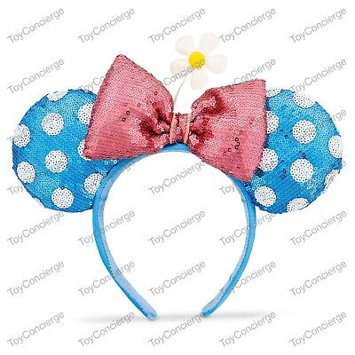 DISNEY Parks EAR HEADBAND Adult BLUE & WHITE Sequin TIMELESS MINNIE Mouse NWT