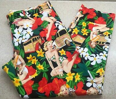 LoudMouth Mens Golf Pants Pin Up Girls Aloha  42 X 32 Stretch Cotton NWOT