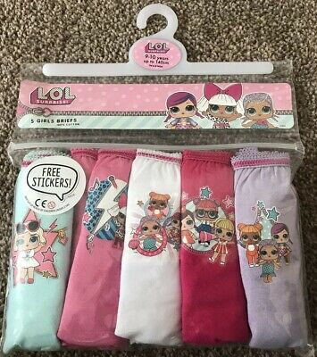 Girls 5 Pack Lol Surprise Briefs Knickers Age 9-10 Years Birthday Gift Present