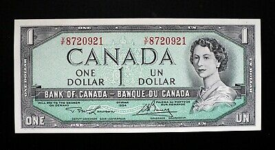 1954 BANK OF CANADA $1 Dollar  *Lawson & Bouey* CHANGEOVER V/F PREFIX BC-37d