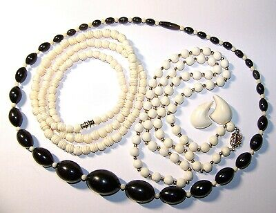 Lot Of Antique Vintage Carved Bovine Bead & Other Materials Necklaces, Earrings