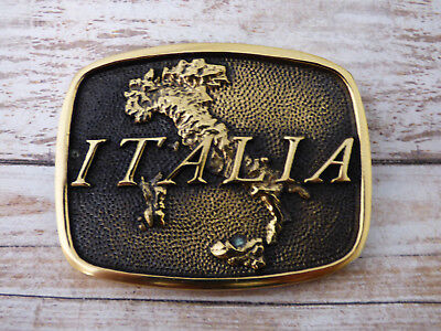 Italia Country of Italy Solid Brass Vintage 1978 BTS Belt Buckle