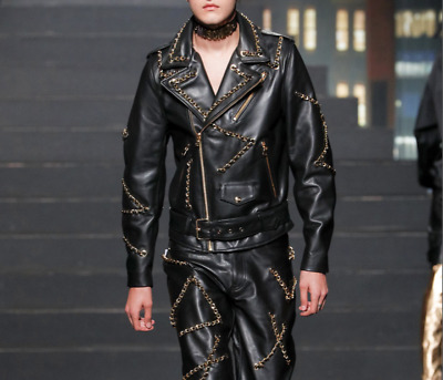 ba9e91122 Moschino X H&M Leather Jacket Biker Gold Chain. Sold Out. Men Size Small S