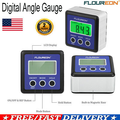 Floureon Digital Bevel Box Gauge LCD Green Backlight Angle Finder Protractor USA