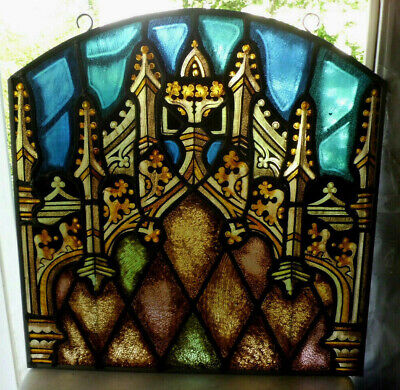 Antique Church Tyrolean Stained Glass Window Architectural Salvage Gothic W39833