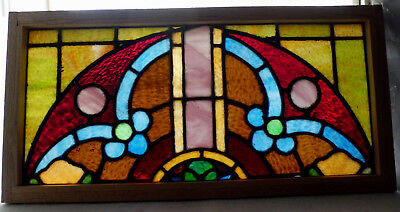 Antique Church Stained Glass Window Architectural Salvage Colorful Arch W3974D