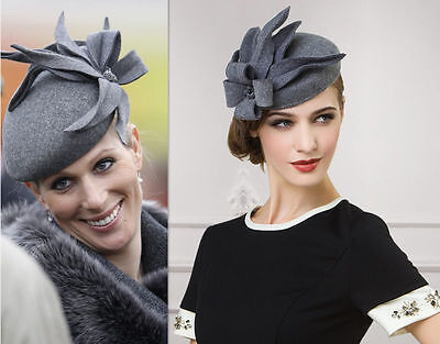 Ladies Cheltenham Hat  Cocktail Felt Fesitval Fascinator Formal Wool A302