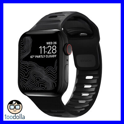 NOMAD Sport Strap / Band for Apple Watch 42/44mm, Black and Slate Grey Silicone