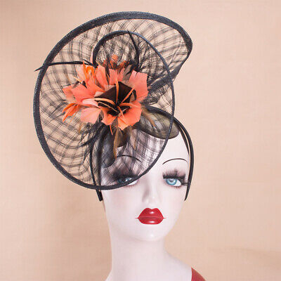 Womens Sinamay Flower Kentucky Derby Fascinator Wedding Party Feather Hat T320