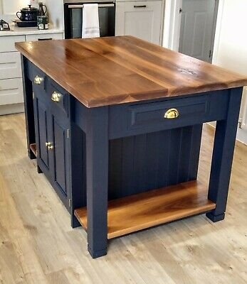 Bespoke Solid Wood Kitchen Island Unit With American Black Walnut Worktop