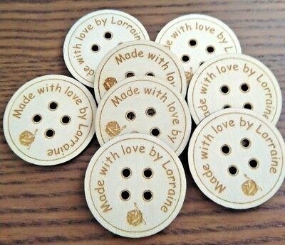Crochet Personalised Wood Buttons X20 Wooden Handmade sew on labels 35mm x 35mm