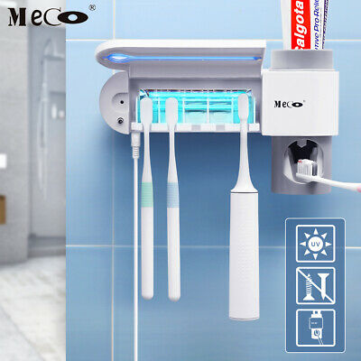 Automatic Toothpaste Dispenser 4 Toothbrush Holder Set Wall Mount Stand F3Z2