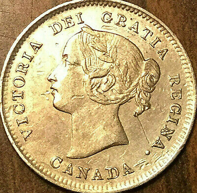 1900 CANADA SILVER 5 CENTS COIN - Round 00 variety - RArely this nice!