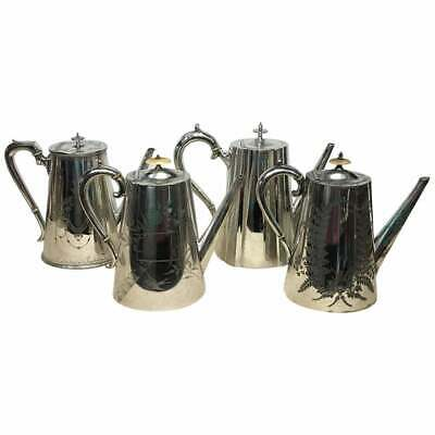 Victorian Silver Plated English Coffee Pots Collection, circa 1870