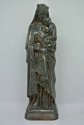 Antique French Madonna with Child Statue Spelter Figurine Signed Laugier Paris