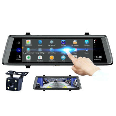 Car Rearview Mirror DVR Safety Driving Camera 10 Inch Touch Screen Dual Lens
