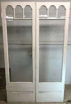 Edwardian French Doors Antique Period Old Reclaimed Wood Pine Elegant Pair Glass