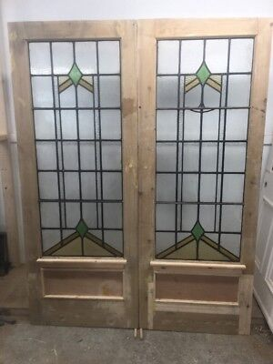 Art Deco Stained Glass Doors Antique Period Reclaimed Old French Wooden.    Lead