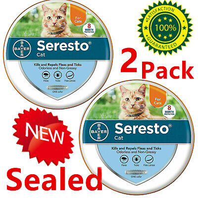 New In Box Bayer Seresto flea collar for cats Best Protect Fast Shipping-2-pack