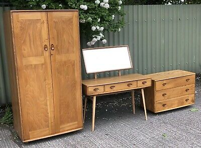 Very Clean Rare Retro  Ercol 3 Piece Bedroom Suite 2-Man Delivery