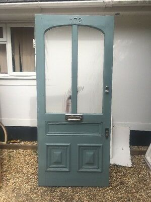 Xl Victorian Edwardian Front Door Period Old Reclaimed Antique 190O  Obsc Glass