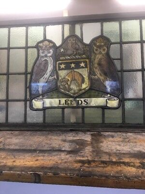Stained Glass Window Hand Painted Panel Antique Period Lead Old Leeds Fc Rugby.