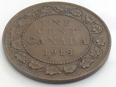 1918 Canada One 1 Cent Copper Large Penny Canadian George V Circulated Coin J870