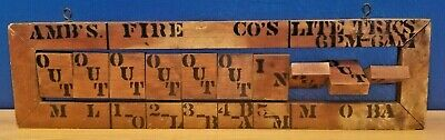 Antique Hand Made Wooden Fire Fighting Duty Board Americana In/Out Board