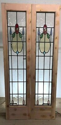 Art Nouveau Stained Glass Doors Antique Period Reclaimed Old French Wooden Lead