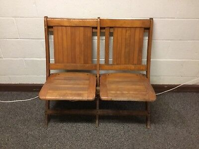 Antique Vtg Wood Double Folding Theater Seats Chairs 2 Available Local Pick Up